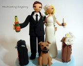 Lovely customized wedding cake topper with dog