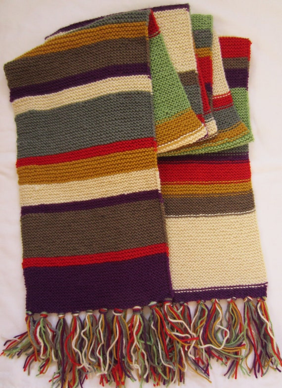 Tom Baker Scarf Knitting Pattern : Items similar to Tom Baker Dr Who Scarf - Season 12 - Hand Knitted - To Origi...