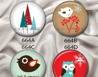 "Whimsical Winter - Interchangeable Magnetic Design Inserts - FIT Clique and Magnabilities 1"" Pendant Jewelry Bases...664"