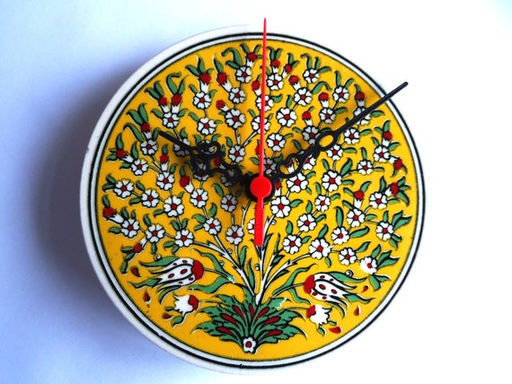Wall Clock with Garnet  flowers patterns,Ceramic Turkish tile.2012 christmas gift