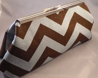 Chocolate Brown and light Blue Chevron Clutch