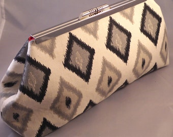 Grey Ikat Diamond Clutch