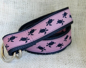 Navy Sea Turtles  on Pink Ribbon with Navy Webbing D-Ring Belt