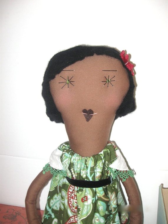 Rosa : Handmade Rag Doll - One of a Kind- 22 Inches - Recycled and Vintage Textiles - Green and Red Paisley Dress