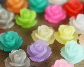 30 pc. Multi-Colored Frosted Rose Cabochons 10mm | RES-065