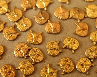 10 pc. Small Raw Brass Owl Heads: 7mm by 8mm - made in USA | RB-041