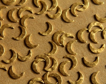 18 pc. Raw Brass Hammered Moon: 9mm by 6mm - made in USA | RB-010