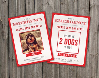Custom Emergency Pet Cards / Stickers. Alert Emergency Crews that you have a pet inside your home