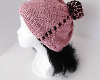 Knit Pompom Hat Cherry Pink with Chocolate  Accents