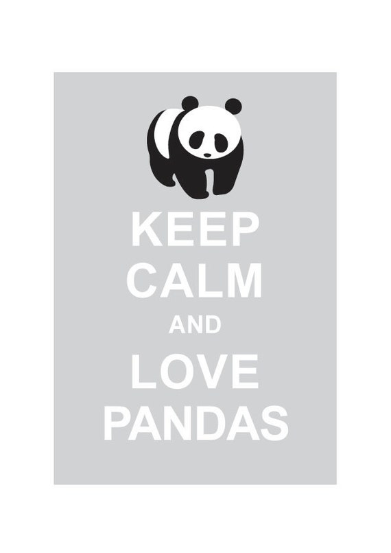 Keep Calm and Love Pandas : Light Grey - Wedding Birthday Anniversary Gift Children Decor Kids Room Home Decor