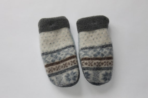 Wool Mittens OOAK - Upcycled Wool - Blue and Cream- Children's Size Large