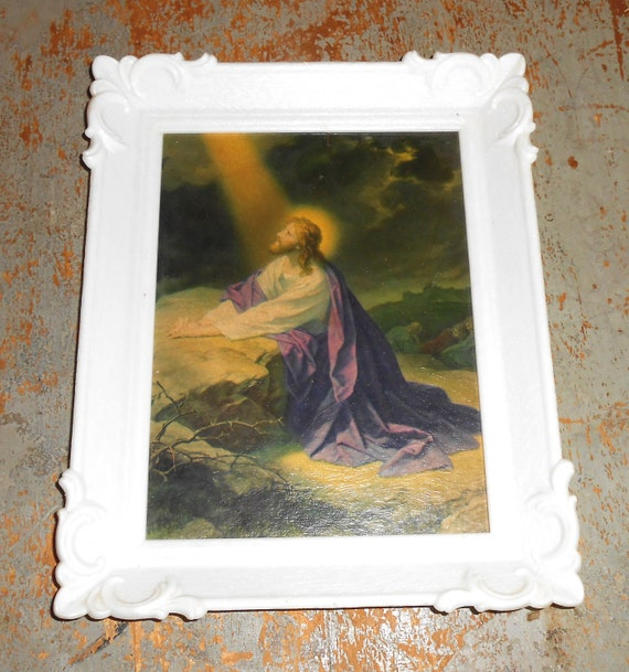 Vintage Jesus Picture Praying At The Rock Lithograph White