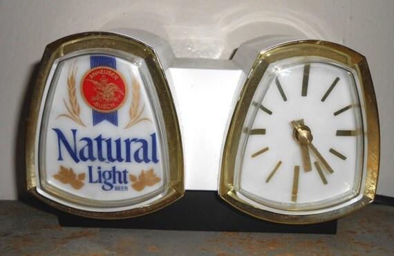 Vintage Beer Light Cash Register Clock Natural Light Beer