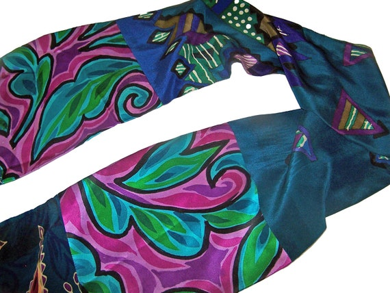 """8"""" x 72"""" Oblong Scarf in Assorted Silks, Teal, Purple, Turquoise With Black Accents"""
