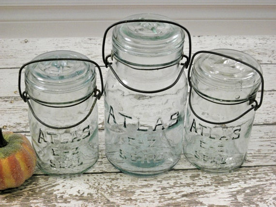 Vintage Atlas E-Z Seal Blue mason Jars 1 Quart 2 Pints Wire Bales.