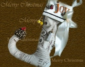Christmas stocking shabby chic linen personalized