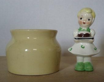 Vintage Small Pale Yellow Stoneware Crock