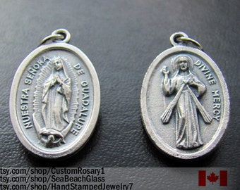 Our Lady of Guadeloupe Charm Necklace Pendant Medal, Made in ITALY Divine Mercy Patron Saint Catholic Jewelry, Baptism Gift, Vintage Style