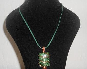 Beautiful Green Impression Jasper Gemstone Cabochon and Copper Wire Wrap Pendant