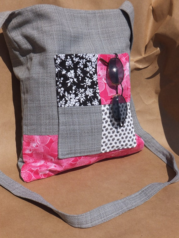 15% off Holiday Special! Subtle Gray Plaid with Pink Black and White Floral Pattern Over The Shoulder Bag