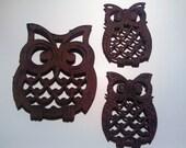 Cast Iron Owl Trivets