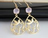 Oriental garden gold earrings, pink opal dangle earrings, bridesmaids gift, wedding jewelry
