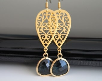 Oriental gold earrings, black green glass dangle earrings, bridesmaids gift, wedding jewelry