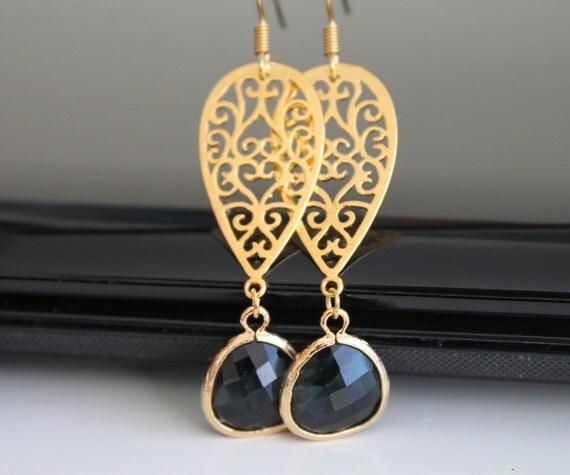 Oriental gold earrings, black green glass dangle earrings, bridesmaids gift, wedding jewelry