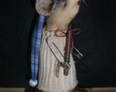 christmas country mouse, soft sculptured body,stands 7 inches