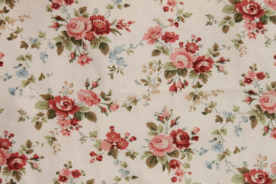 Pink Rose Fabric Old Fashioned Fabric Romantic Shabby Chic 1 2
