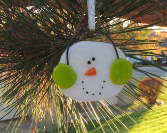 Snowman ornament  Lime green earmuffs