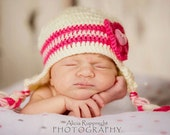 Crochet Baby Girl Beanie, Newborn Photo Prop, Baby Girl Hat, Baby Hat For Girls