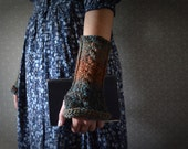 Blue and Rust Tweed  Wrist warmers / fingerless gloves / arm warmers - LetsBacktrack
