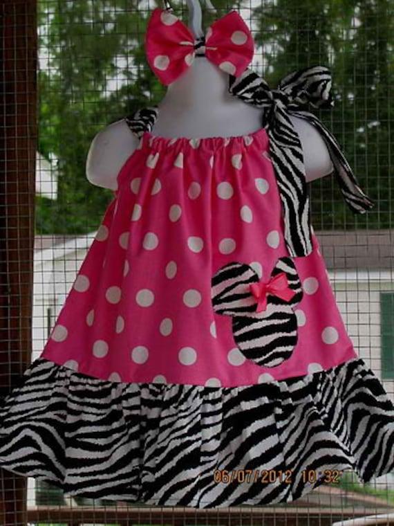 New Handmade ruffle minnie mouse polka dot pink zebra pink ribbon pillowcase dress size 3mos up to 6y