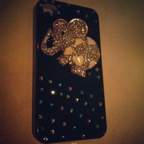 iPhone 4 and iPhone 4S Crystal Elephant with Colorful Rhinestones 3D Black Case