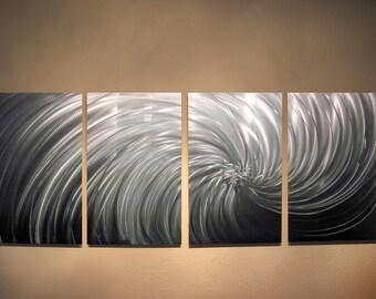 Metal Wall Art Decor Aluminum Abstract Contemporary Modern Sculpture Hanging Zen Textured - Riptide