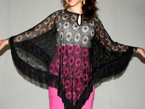 Sheer Black Lace Crochet Fringe Stevie Nicks Bohemian Poncho