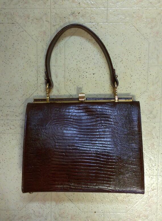 Vintage Lizard / Gator Reptile Handbag 1950s Brown Handbag / Purse