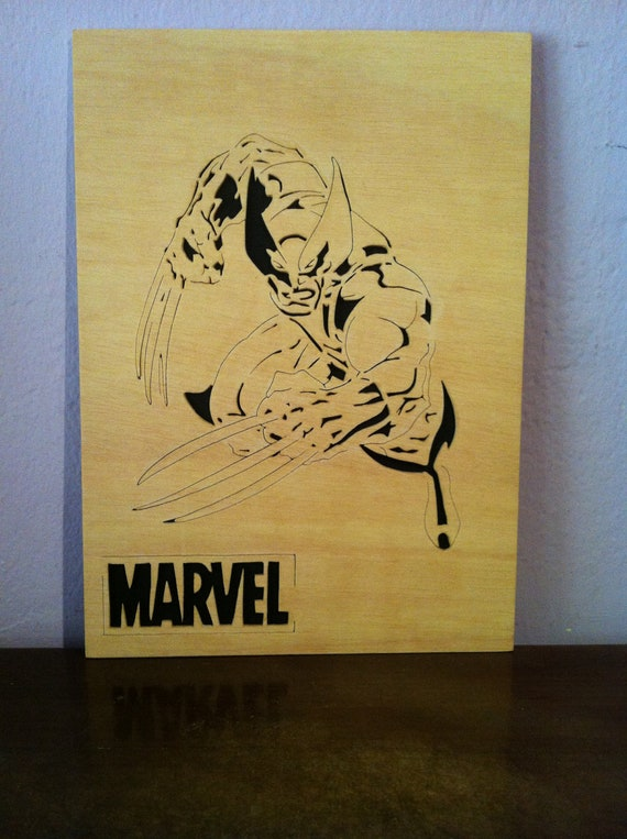 Wood Scroll Wall Decor : Wolverine wooden picture wall art scroll saw by planetasierra