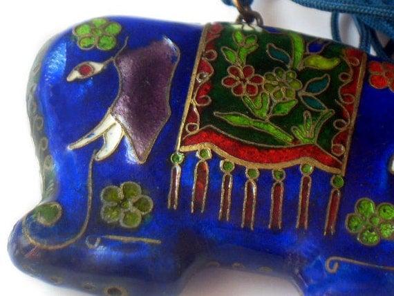 Vintage Enamel Elephant Necklace Cloisonne Pendant Asian East Indian Style Blue 1970s Jewelry