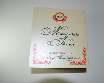 Exquisite script  and design Tri Fold Wedding Programs Sample in burgundy and black on Champagne metallic  Luxury Cardstock