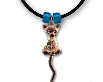 Enamel Siamese Cat Necklace