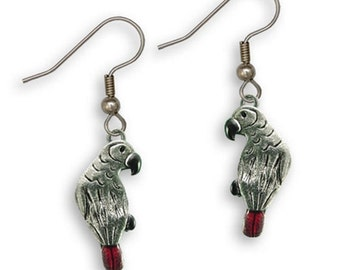 Enamel Afr Grey Parrot Earrings