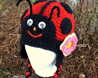 Crochet Ladybug  Hat. Made to order;Size:6 month to Adult