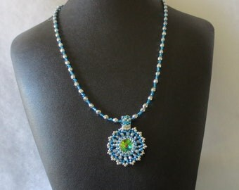 Lovely  crystal necklace, Swarovski rivoli pendant - Handmade Beadweaved