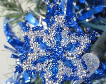 Bead and crystal snowflake / wreath ornament.