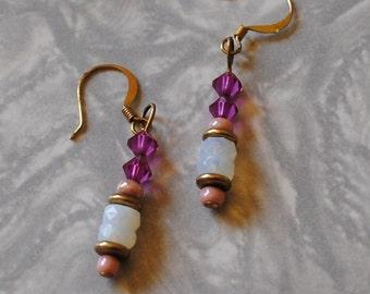 Fuschia and opal rondelle earrings