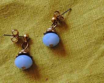 Blue button earrings