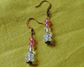Crystal ball and pink earrings