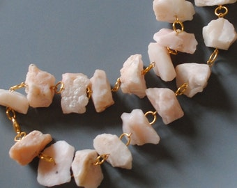 Pink opal chunk necklace (#2)